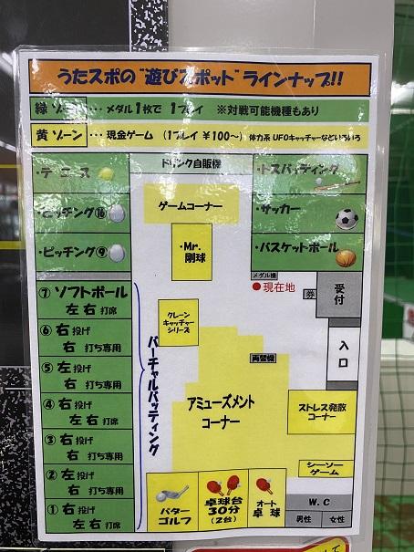 スポーツドーム宇多津案内図とラインナップ