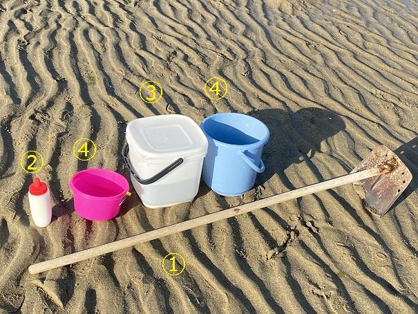 有明浜海水浴場マテ貝道具