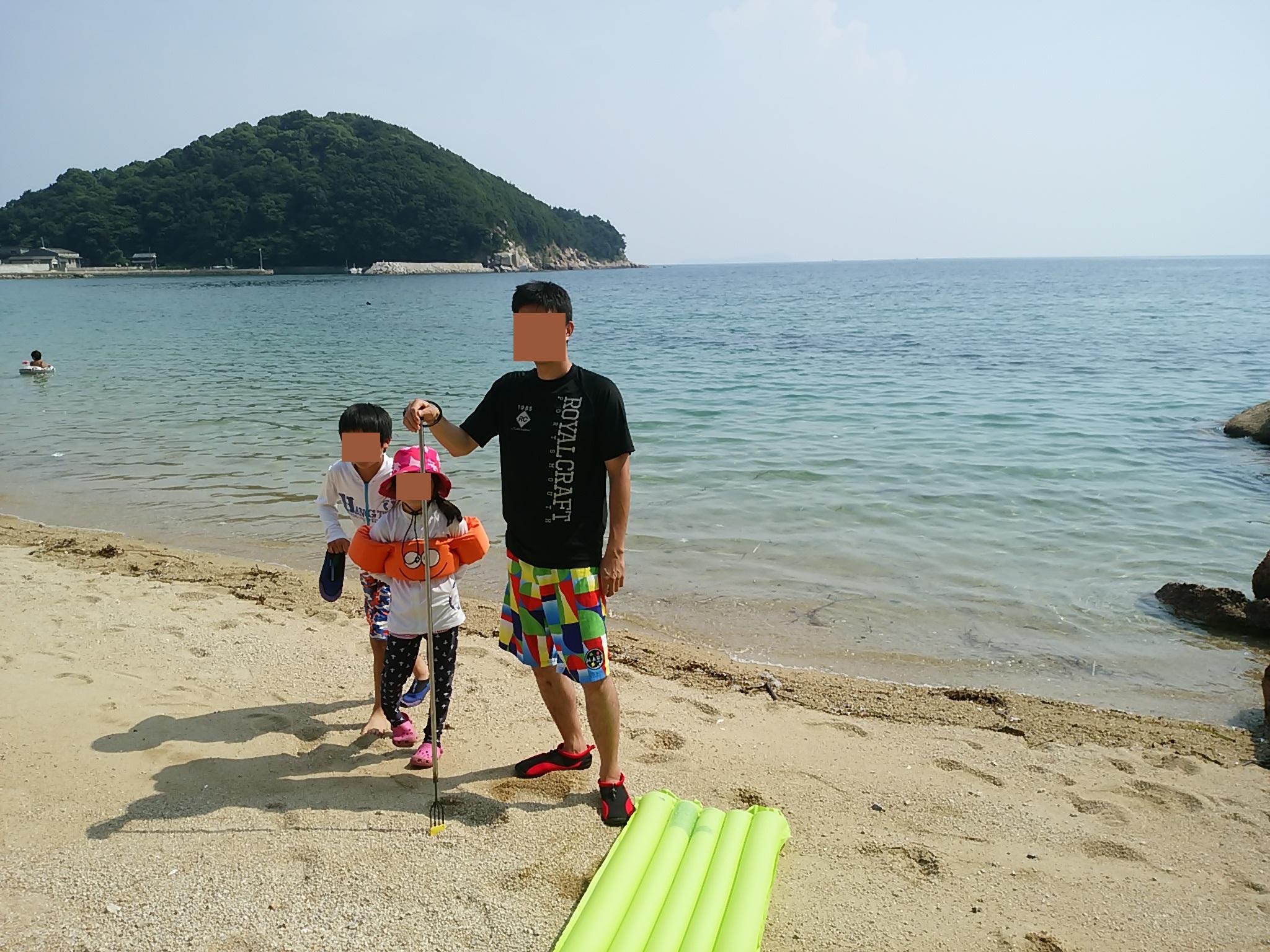 三豊市仁老浜海水浴場で素潜りでサザエやタコ モリでベラ