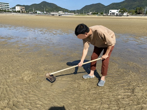 マテ貝は鍬で砂浜の表面を削る