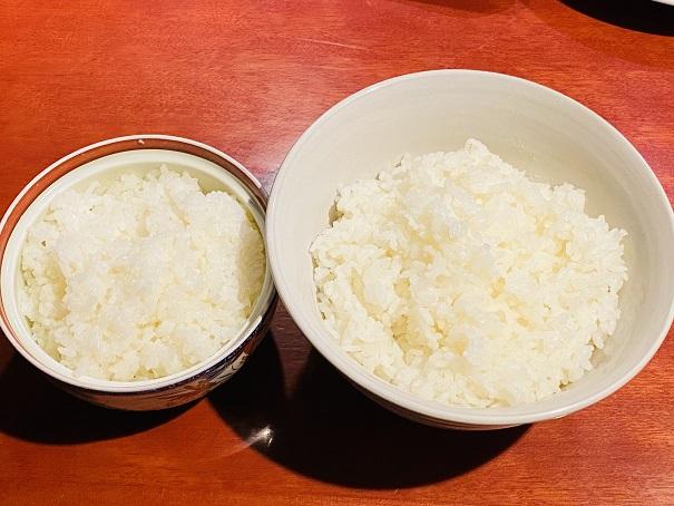 白ご飯大と小