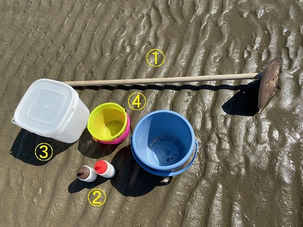 一の宮海岸マテ貝潮干狩り道具