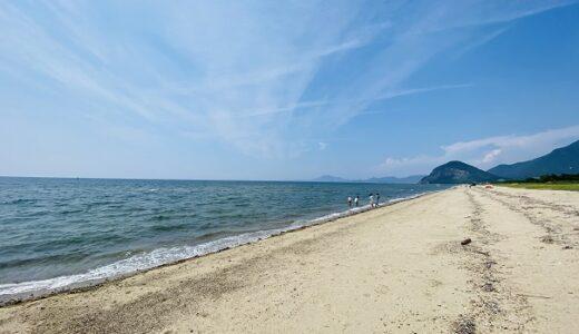 有明浜海水浴場で泳ぎ フラットスキムボードと小魚捕りで遊ぶ 観音寺市