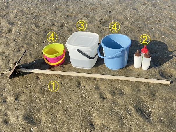 仁尾海岸マテ貝の道具