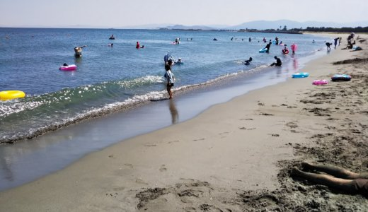 月見ヶ丘海浜公園の月見ヶ丘海水浴場で海水浴を楽しむ 松茂町