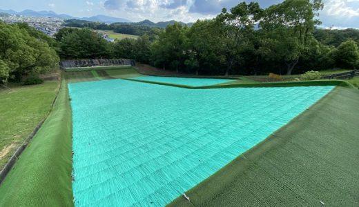 萩の丘公園 無料プール キャンプ 子供ゲレンデで芝滑りやそり 観音寺市