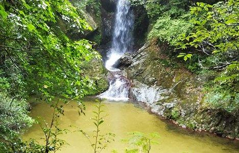 三木町のさぬきの名水「虹の滝」で水遊び キャンプ場も