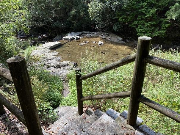 北井谷川へ降りる階段