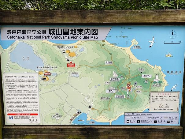 田の浦野営場付近の案内図