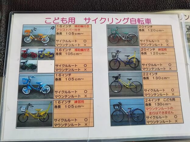 さぬきこどもの国 サイクリング自転車種類1