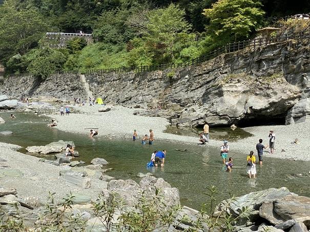 祖谷川かずら橋で泳ぐ