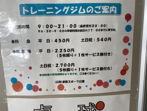 倉敷スポーツ公園トレーニングジム料金