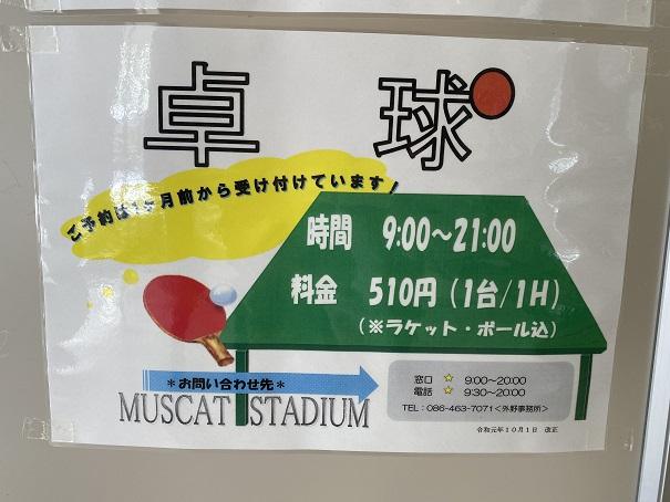 倉敷スポーツ公園卓球料金