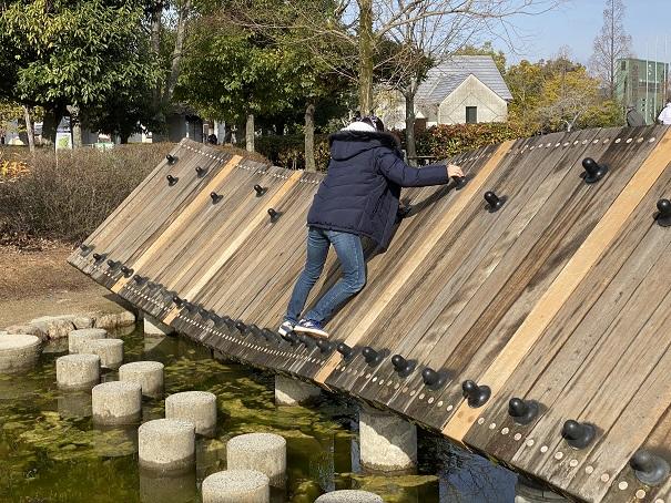 傾斜のある木の橋アスレチック