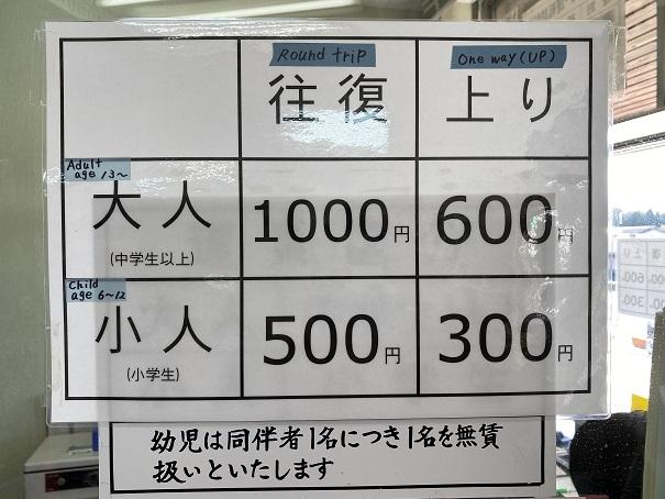 八栗ケーブル運賃表料金と価格
