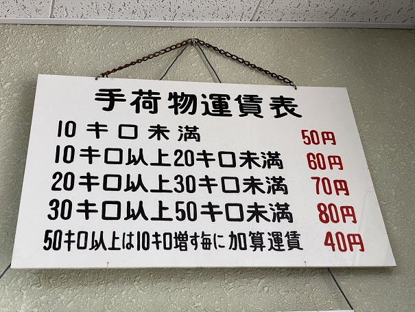 八栗ケーブル手荷物運賃表