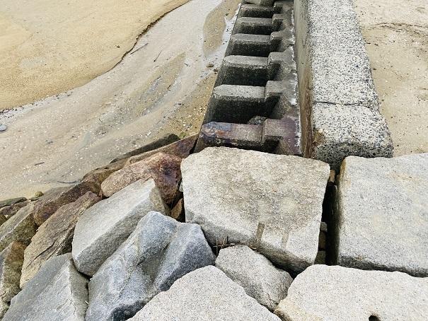 沙美海水浴場砂浜に降りるポイント