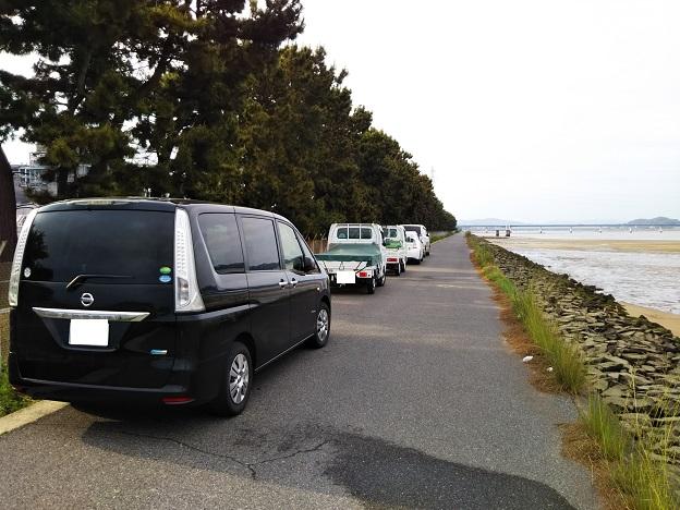 高梁川河口 河川管理道路駐車