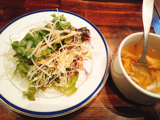 楽宴 ハラミステーキセット サラダ・スープ