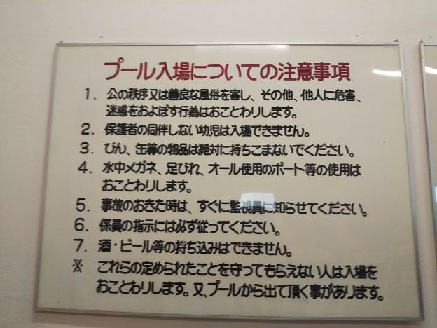 プール入場についての注意事項