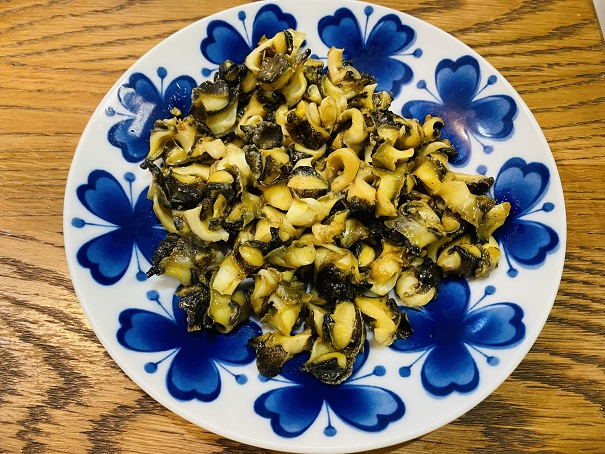 アカニシガイの醤油バター焼き