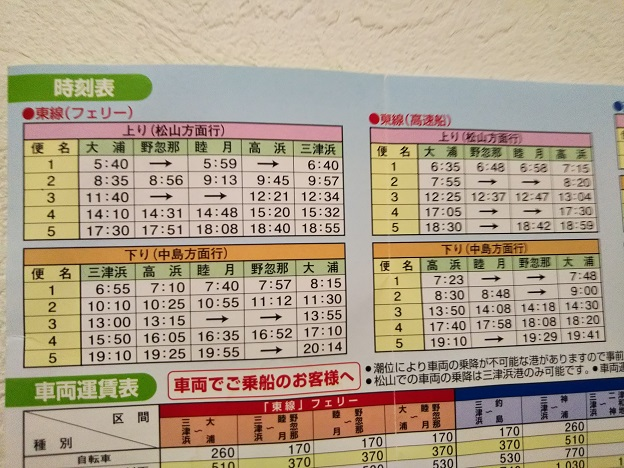 東線瀬フェリーと高速船の時刻表