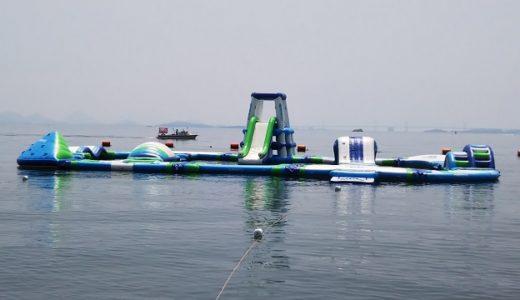 渋川ウォーターパーク渋川海水浴場に海上アスレチックオープン 岡山県