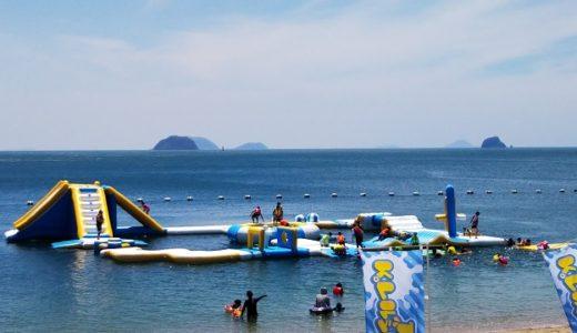 スプラッシュ ザ ビーチ中島 愛媛県姫ヶ浜海水浴場で海上アスレチック