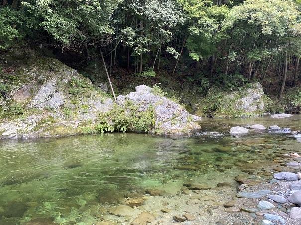 鞍瀬川小さな岩から飛び込み
