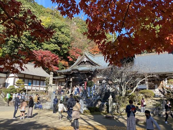 大窪寺本堂付近の紅葉