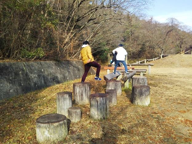 福山少年自然の家 アスレチック ステップ渡り
