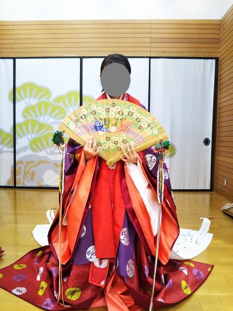 香川県立ミュージアム 十二単の着付け体験完成