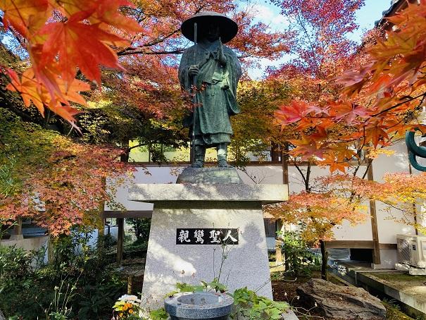 親鸞聖人の像付近の紅葉
