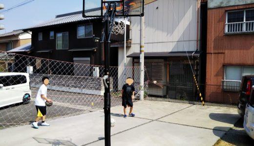 移動式防球ネットやバックネットを自作で庭に設置 バスケットゴールの支柱と電柱を利用