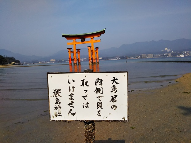 宮島と厳島神社潮干狩りの注意事項