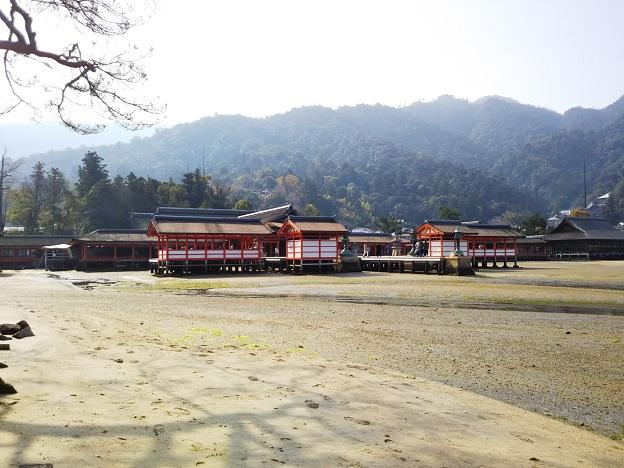 砂浜から見る厳島神社