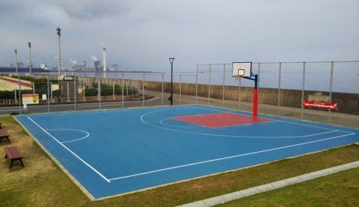 浜公園こども広場の本格スリーオンスリー3ON3のバスケットコートと遊具 四国中央市
