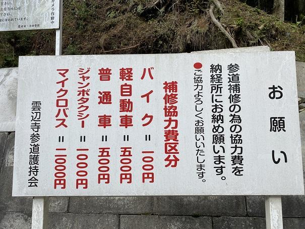 雲辺寺駐車場料金と参道補修協力費