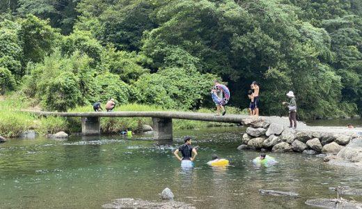 新荘川 新土居キャンプ場の清流で川遊びと沈下橋からの飛び込み 津野町