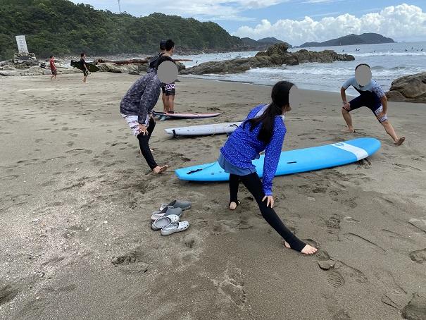 サーフィンスクール 準備運動