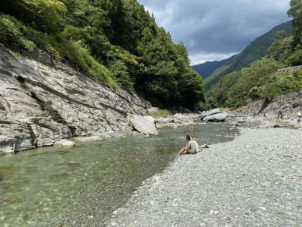 かずら橋 祖谷川で川遊び