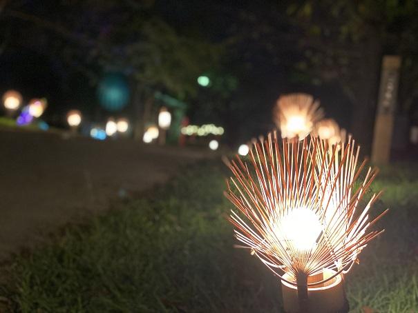 丸亀城キャッスルロード うちわの明かり