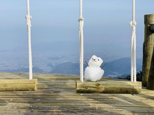 天空のブランコに乗る雪だるま