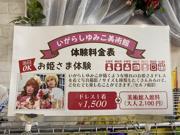 いがらしゆみこ美術館 お姫様体験料金表