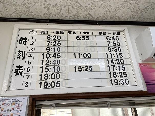 粟島発時刻表