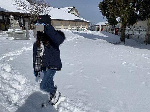 石鎚山 雪遊び ダイブ前