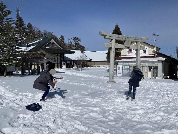 石鎚山 雪遊び 雪合戦