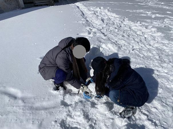 石鎚山 雪遊び 雪だるま