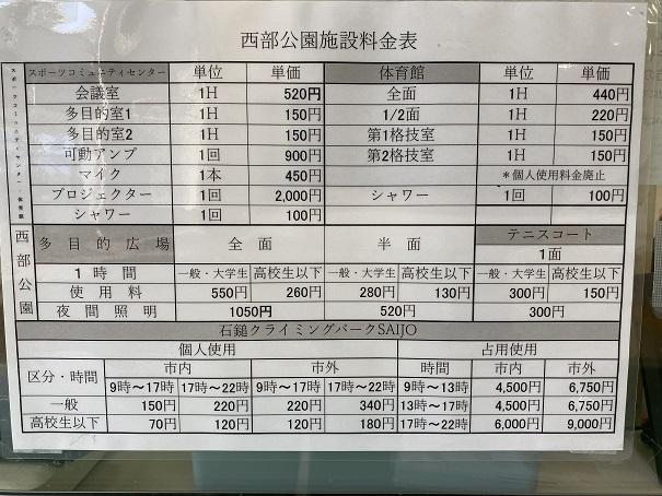 石鎚クライミングパークSAIJO 料金表