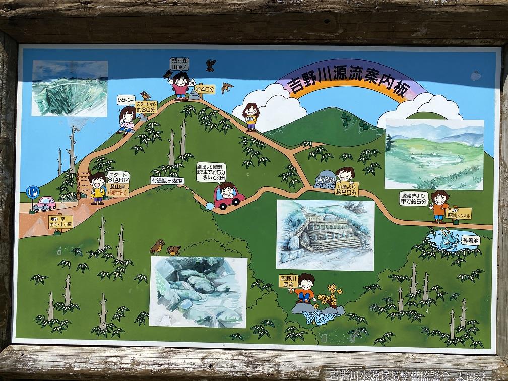 瓶ヶ森 登山口案内図
